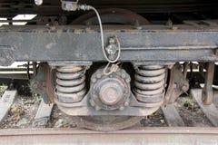Starzy wygłupy pociągu koła obraz stock