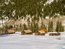 Starzy, Zaniechani bela budynki w zimie, Obraz Stock