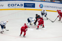 A. Stas (23) and A. Nikulin (36) on faceoff Stock Image