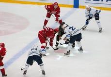 A. Stas (23) vs R. Horak (15) on faceoff. PODOLSK - OCTOBER 30, 2016: A. Stas (23) vs R. Horak (15) on faceoff on hockey game Vityaz vs Stock Photo