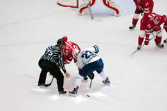 A. Stas (23) and Y. Koksharov (27) on faceoff. PODOLSK - OCTOBER 30, 2016: A. Stas (23) and Y. Koksharov (27) on faceoff on hockey game Stock Images