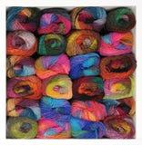 Stash of colorful knitting yarn. Shelf Full Of Knitting Yarn Stock Image