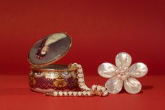 Stash and flower. Ornaments made of nacre, which is extracted from the sea or river shells. It is very similar to pearl jewelry, which is also formed in the Stock Photography