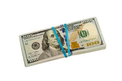 Stash of hundred dollar bills with rubber band isolated Stock Photos