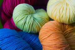 Stash of Yarn. Close Up Stash of Colorful Knitting Yarn Royalty Free Stock Photo