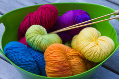 Stash of Yarn. Stash of Colorful Knitting Yarn in a Bin royalty free stock images
