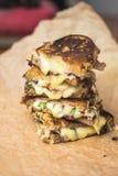 Stashed烤了三明治用熔化的乳酪 库存图片