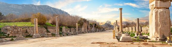 Free State Agora Near Library Of Celsus In Ancient City Of Ephesus Royalty Free Stock Photo - 217945305