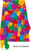 State of Alabama. Map of Alabama state designed in illustration with the counties and the county seats Royalty Free Stock Photo