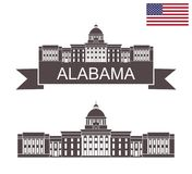 State of Alabama. Alabama State Capitol in Montgomery vector illustration