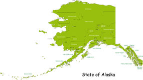 State of Alaska. Illustrated design of the map of Alaska (USA), including counties and county seats. Isolated against a white background stock illustration