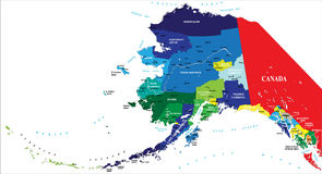 State of Alaska map. Highly detailed vector map of Alaska with administrative division and main cities stock illustration