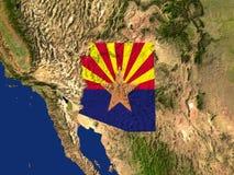 The State Of Arizona. Highlighted Satellite Image Of The State Of Arizona With The State Flag Covering It stock illustration