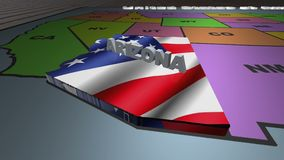 Arizoma pull out from USA states abbreviations map. State Arizona pull out from USA map with american flag on background. A map of the US showing the two-letter stock footage