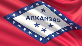 State of Arkansas flag. Flags of the states of USA. Close up flag blowing in the wind. Waved highly detailed fabric texture royalty free stock photo