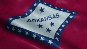 State of Arkansas Flag Seamless Looping Waving Animation