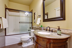 State of the art bathroom with glass shower. Stock Photos