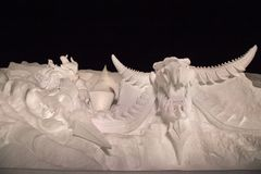 State-of-the-art of Snow sculpture show on state of Final Fantasy royalty free stock photo