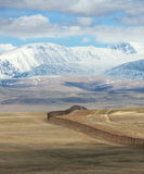 The state border between Rosiey and Mongolia in the Altai Mounta Royalty Free Stock Photos