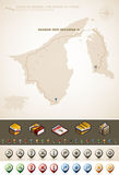 State of Brunei, the Abode of Peace. State of Brunei and Asia maps, plus extra set of isometric icons & cartography symbols set (part of the World Maps Set Stock Images