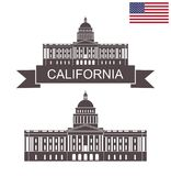 State of California. Building of State Capitol in Sacramento California. EPS 10. Vector illustration Stock Images