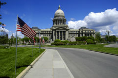 State Capitol with Flags Stock Photography