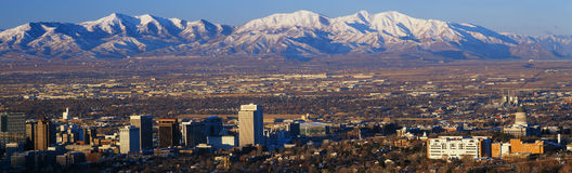 This is the State Capitol with the Great Salt Lake and snow capped Wasatch Mountains in morning light. It will be the winter Olymp Royalty Free Stock Images
