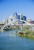 State capitol Nashville, TN skyline with Cumberland River in foreground Royalty Free Stock Photo