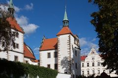 State castle Benešov nad Ploučnicí in the Czech Republic. The chateau complex is a unique example of Gothic and Renaissance architecture - the so-called Saxon Stock Images