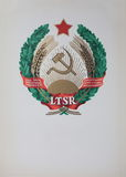 State coat of arms Lithuania under the USSR  1940 - 1991 Stock Photos