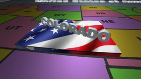 Colorado pull out from USA states abbreviations map. State Colorado pull out from USA map with american flag on background. A map of the US showing the two stock video footage