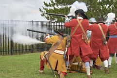 Musket Volley Fire against sailing ship Stock Images