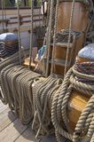 Rope played out for use on sailing ship royalty free stock image