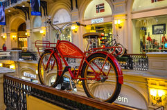 State Department Store (GUM) with the red bike Royalty Free Stock Images