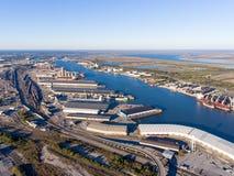 State docks. Docks at the port of Mobile Alabama Stock Photos