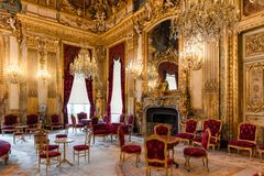 Napoleon III apartments, State Drawing room interior, Louvre museum, Paris France. State Drawing Room with chandeliers and royal furniture in Napoleon III stock photos