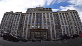 The State Duma - the lower house of the Federal Assembly of the Russian Federation the Russian parliament. Fisheye stock footage