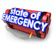 State of Emergency 3d Words Dynamite Bomb Explosive Crisis Disas Stock Image
