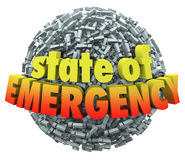 State of Emergency 3d Words Exclamation Mark Point Sphere Royalty Free Stock Photo