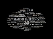 STATE OF EMERGENCY - image with words associated with the topic STATE OF EMERGENCY, word, image, illustration Royalty Free Stock Photo