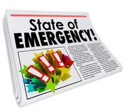 State of Emergency Newspaper Headline Top Story Big Crisis Royalty Free Stock Photography