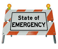 State of Emergency Words Road Construction Barricade Warning Sig Stock Photo