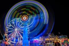 State Fair. Amusement park rides, night life, ferris wheel Royalty Free Stock Photos