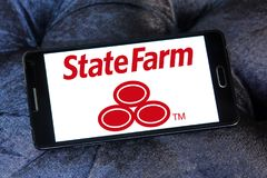 State Farm insurance logo. Logo of State Farm insurance company on samsung mobile . State Farm is a large group of insurance and financial services companies in Royalty Free Stock Photo