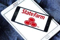 State Farm insurance logo. Logo of State Farm insurance company on samsung mobile on samsung tablet. State Farm is a large group of insurance and financial Royalty Free Stock Photo