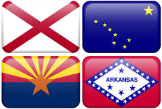 State Flag: Alabama, Alaska, Arizona, Arkansas. Alabama, Alaska, Arizona, and Arkansas flag rectangular buttons.  Part of set of US State flags all in 2:3 Stock Photography