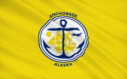 State Flag of Anchorage - a city in the United States, located i. The state flag of Anchorage - a city in the United States, located in the southern part of Stock Image