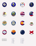 State flag ball/stamp of UNITED STATES 1/3. This picture shows a flag ball/stamp made for the whole states flags in UNITED STATES. With a description of each Royalty Free Stock Photos