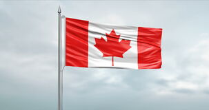 State flag of Canada moving in the wind at the flagpole in front of a cloudy sky stock footage