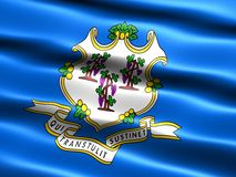State flag of Connecticut. Computer generated illustration of the flag of the state of Connecticut with silky appearance and waves Royalty Free Stock Photo
